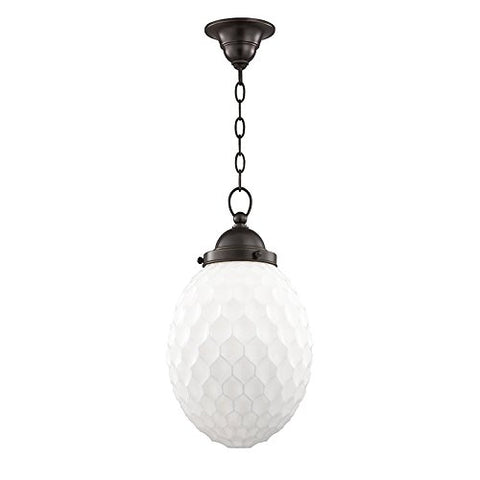 "Hudson Valley Lighting 3010-OB Columbia 1-Light 10"" Pendant-Old Bronze Finish with Transparent/Opal Glass Shade - llightsdaddy - Hudson Valley Lighting - Pendant Lights"