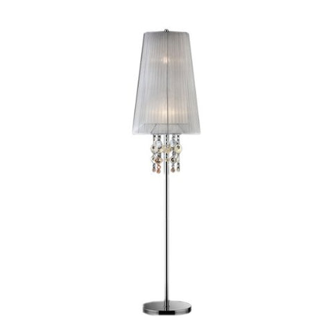 "Ore International, Inc K-5136-F2 Moon Jewel Floor Lamp, 62.5""H, 15"" x 15"" x 62.5"", Silver/Ivory - llightsdaddy - ORE - Lamp Shades"