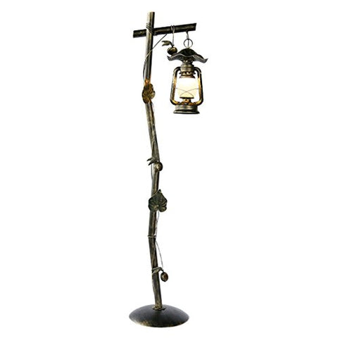 "Retro Style Lantern Floor Lamp, Glass Lampshade, Single Stem, E27, Height 63.83"", Bronze, Living Room Study Bedroom Cafe Wrought Iron Floor Lamp - llightsdaddy - Homelx - Lamp Shades"