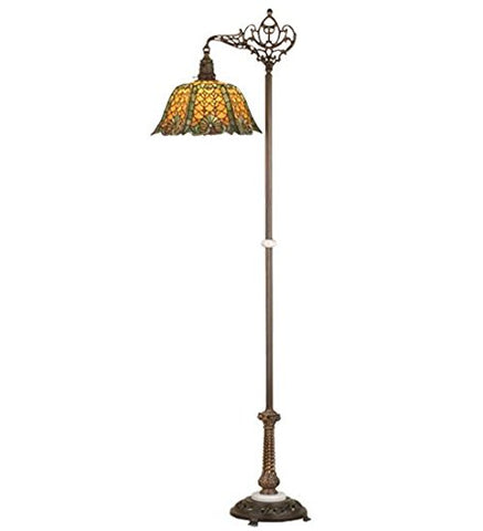 "Meyda Tiffany 65830 Duffner & Kimberly Shell & Diamond Bridge Arm Floor Lamp, 69.5"" H - llightsdaddy - Meyda Tiffany - Outdoor Floor Lamps"