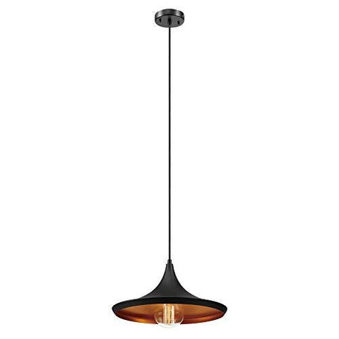 Globe Electric 1-Light Flat Modern Industrial Pendant, Bronze, Oil Rubbed Finish, Gold Interior 63872 - llightsdaddy - Hatch - Low Voltage Transformers