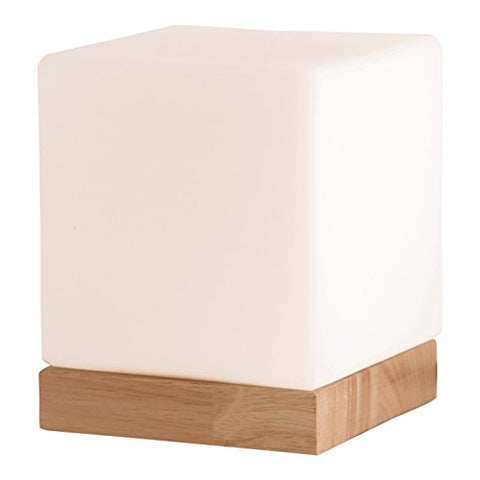 Light Accents Felix Table Lamp - Glass Cube Accent Lamp - Glass Shade with Natural Wooden Base