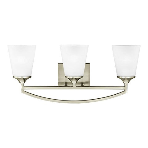 Sea Gull Lighting 4424503-962 Hanford Three-Light Bath or Wall Light Fixture with Satin Etched Glass Shades, Brushed Nickel Finish