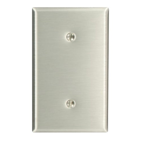 Leviton 84019-40 1-Gang No Device Blank Wallplate, Strap Mount, Stainless Steel - llightsdaddy - Leviton - Lamp Post Mounts