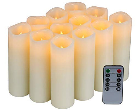 Homelife Set of 12 Flameless Candles Battery Operated LED Pillar Real Wax Flickering Unscented Candles with Remote Control Cycling 24 Hours Timer, Ivory Color - llightsdaddy - Candle life at home - Flameless Candles