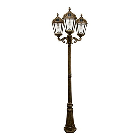 Gama Sonic Royal Bulb Solar Outdoor Triple Head Lamp Post GS-98B-T-WB - Weathered Bronze Finish - llightsdaddy - Gama Sonic - Post Lights