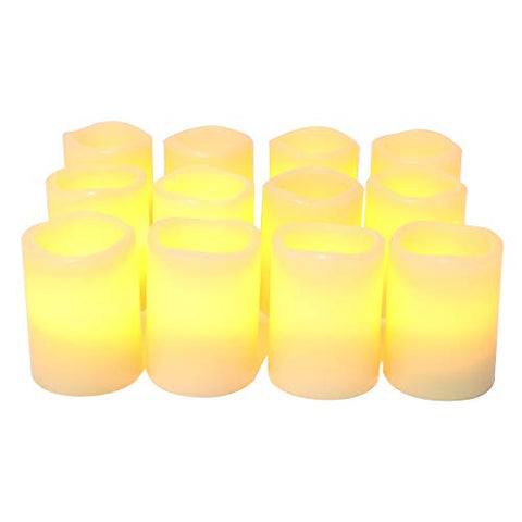 "iZAN Real Wax Flameless LED Votive Candles with Built-in Timer Battery Operated Flickering Electric Candle Set for Home Party Wedding Decoration Christmas D├ęcor 1.5""x1.6"", 12 Pack, Batteries Included - llightsdaddy - Jingtech - Flameless Candles"