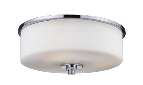 Z-Lite 163F-2 Ibis Two Light Flush Mount, Metal Frame, Chrome Finish and Matte Opal Shade of Glass Material