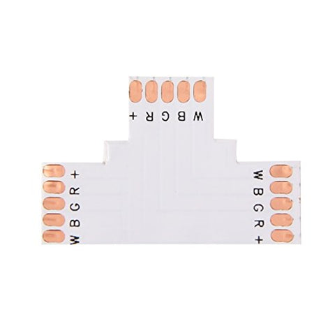 Bulbs Connectors 10 PCS 10mm 5 Pin T Type Connector FPC Board for RGBW LED Strip lamp connectors - llightsdaddy - Lights connectors - Fixture Replacement Globes & Shades