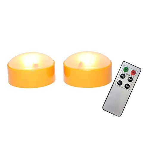 iZAN Battery Operated LED Decorative Lights with Remote and Timer, Bright Flickering Flameless Candles for Pumpkin Decor, Jack-O-Lantern Halloween Party Home Decorations, Orange Color, 2 Pack - llightsdaddy - Jingtech - Flameless Candles