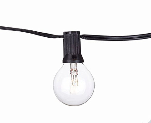 String Light Company Party Light 25-Ft Globe String Lights with 25 Sockets and 25 Clear G40 Bulbs, 18 Gauge Black Cord