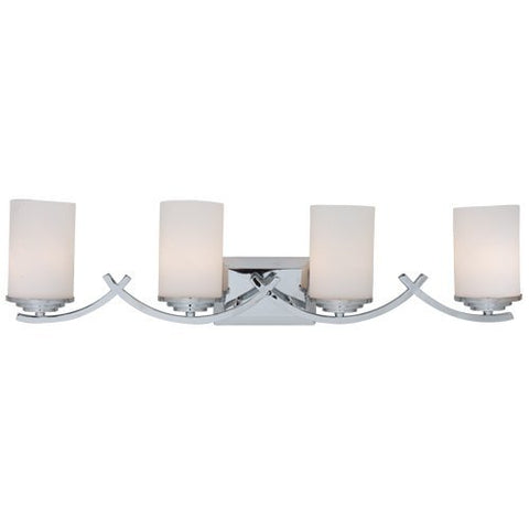 AA Warehousing L994C Modern, Transitional, Traditional 4 Light Bathroom Vanity Light Chrome Finish with White Glass Shade By Y Décor, , Chrome, Silver
