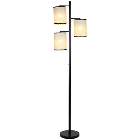 Brightech Liam - Asian Lantern Shade Tree LED Floor Lamp - Tall Free Standing Pole with 3 LED Light Bulbs - Contemporary Bright Reading Lamp for Living Room, Office - Black - llightsdaddy - Brightech - Lamp Shades