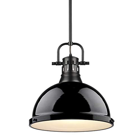 Golden Lighting 3604-L BLK-BK Duncan Pendant, Matte Black