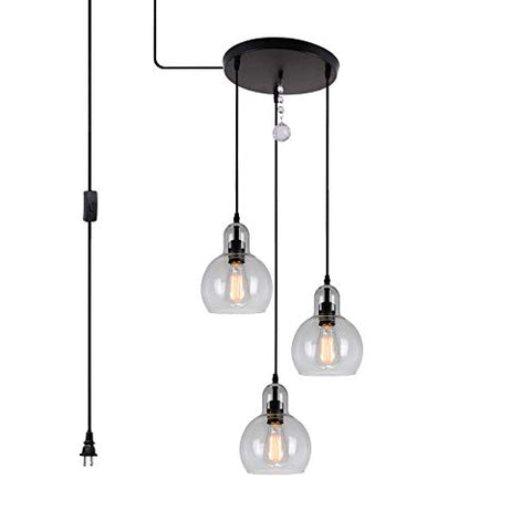HMVPL 3-Lights Plug in Glass Chandelier Pendant Light with 16 Ft Hanging Cord and in-line on/Off Toggle Switch, Antique Lighting Fixture for Living Room Dining Room Kitchen Island Table Hallway - llightsdaddy - Yilong - Island Lights