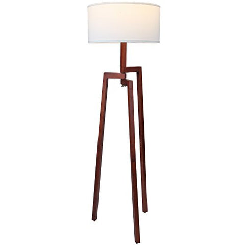 Brightech New Mia Led Tripod Floor Lamp– Modern Design Wood Mid Century Style Lighting For Contemporary Living Or Family Rooms- Ambient Light Tall Standing Survey Lamp For Bedroom, Of - Havana Brown - llightsdaddy - Brightech - Floor Lamps