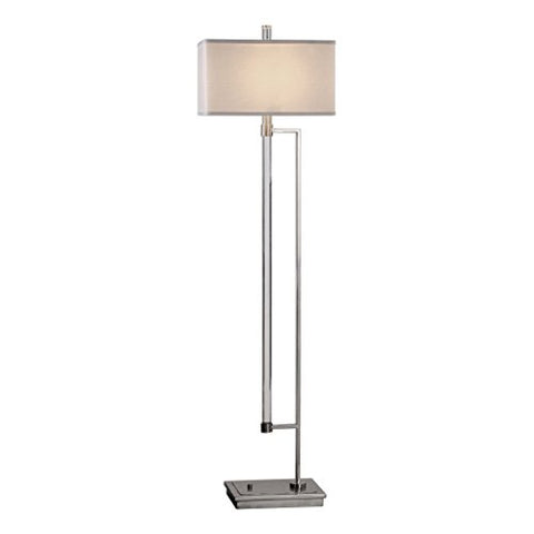 Polished Silver Chrome Arm Floor Lamp | Mid Century Modern Geometric - llightsdaddy - My Swanky Home - Lamp Shades