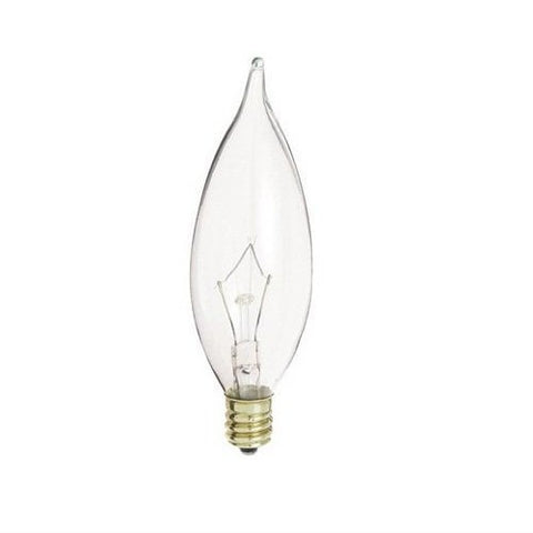 (25 pack) s3275 40w flame tip candelabra base clear incandescent light bulb