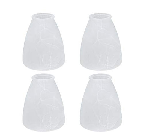 "Aspen Creative 23062-4 Alabaster Transitional Style Shade, 2-1/4"" Fitter Size, 4-5/8"" high x 4-1/8"" Diameter, 4 Pack Replacement Glass, - llightsdaddy - Aspen Creative - Fixture Replacement Globes & Shades"
