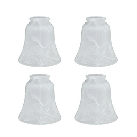"Aspen Creative 23030-4 Transitional Style Replacement Bell Shaped Glass Shade with 2 1/8"" Fitter Size (4 Pack), 4 3/4"" high x 4 3/4"" Diameter, Alabaster - llightsdaddy - Aspen Creative - Fixture Replacement Globes & Shades"