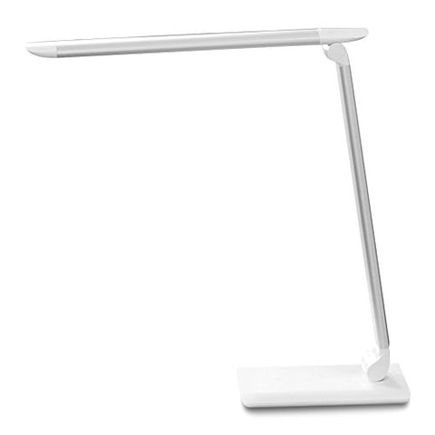 Feitenn Metal LED Desk Lamp Rotatable Flip Folding Dimmable LED Lamp with USB Portable Rechargeable Smart Touch Control Table Lamp Eye-Caring Light for Kids Bedside Reading Living Room Office (White)