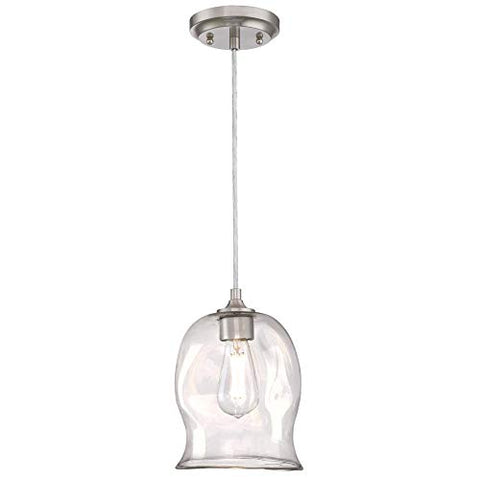 Westinghouse Lighting 6366100 One-Light Indoor Mini Pendant Light, Brushed Nickel Finish with Clear Indented Glass
