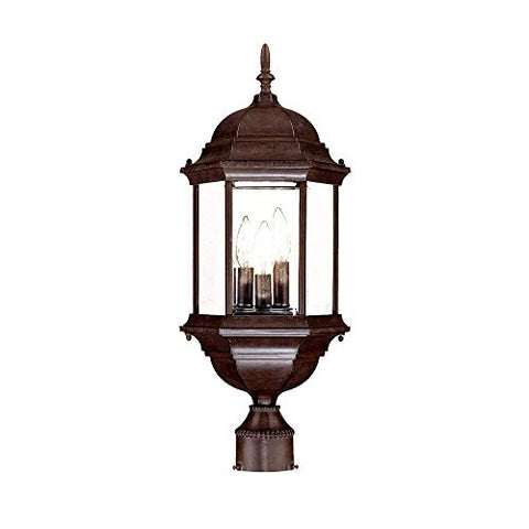 Acclaim 5187BW Madison Collection 3-Light Post Mount Outdoor Light Fixture, Burled Walnut - llightsdaddy - Acclaim - Post Lights