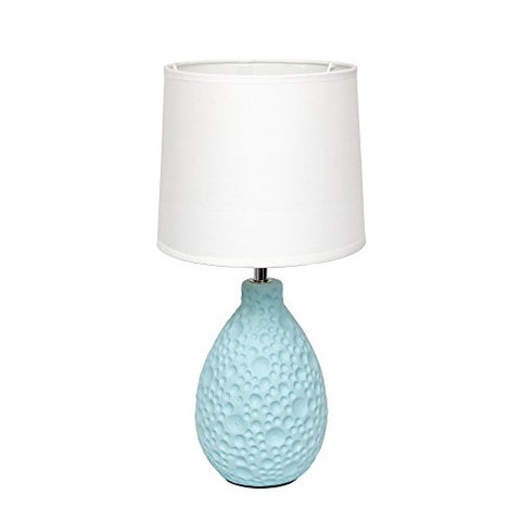 Simple Designs Home LT2003-BLU Texturized Stucco Ceramic Oval Table Lamp, Blue