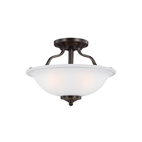Seagull Sea Gull 7739002-782 Transitional Two Light Semi-Flush Mount from Emmons Collection Dark Finish, Heirloom Bronze