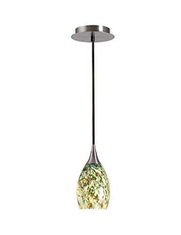 Kenroy Home Medici Pendant, Brushed Steel & Forest Glass