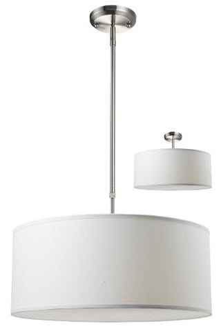 Z-Lite 171-20W-C Albion Three Light Pendant, Metal Frame, Brushed Nickel Finish and White Linen Shade of Fabric Material