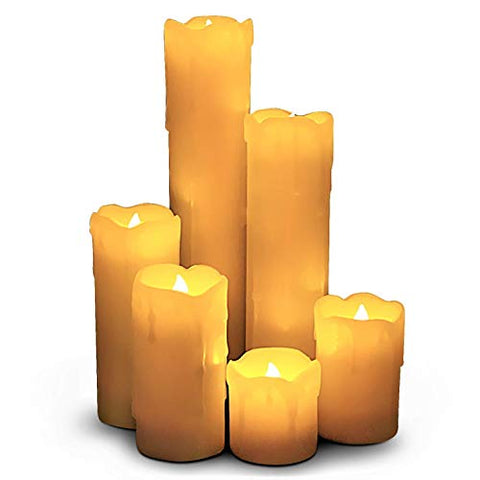 "LED Lytes Timer Flameless Candles, Slim Set of 6, 2"" Wide and 2""- 9"" Tall, Ivory Color Wax and Flickering Amber Yellow Flame Battery Powered Flickering Candle Set - llightsdaddy - LED Lytes - Flameless Candles"