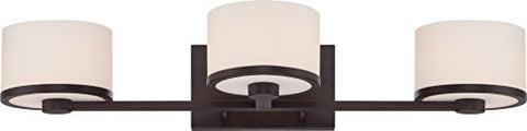 nuvo lighting 60/5573 three light fixture vanity, bronze/dark