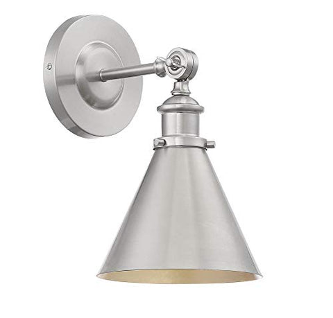 "Savoy House 9-0901-1-SN Glenn 1-Light Satin Nickel Wall Sconce (7"" W x 12""H)"