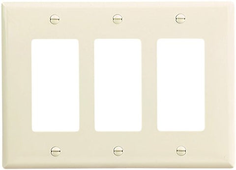 EATON Wiring PJ263LA-SP-L Polycarbonate 3-Gang Decorator GFCI Mid Size Wall Plate, Light Almond - llightsdaddy - Eaton - Wall Plates