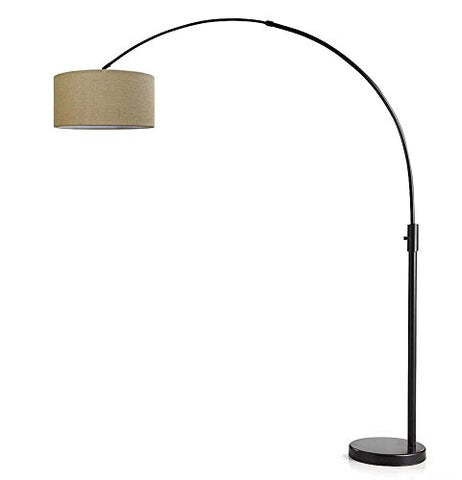 ORBITA Arch Floor Lamp, Dimmer, 12W Dimmable LED Bulb Included - Dark Bronze Finish, Drum Style Shade (Brown Drum Shade) - llightsdaddy - HOMEGLAM - Lamp Shades
