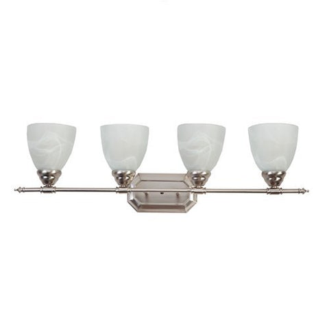 AA Warehousing L6434-4BN Modern, Transitional, Traditional 4 Light Bathroom Vanity Fixture Brushed Nickel with White Glass By , Brushed Nickel, Silver