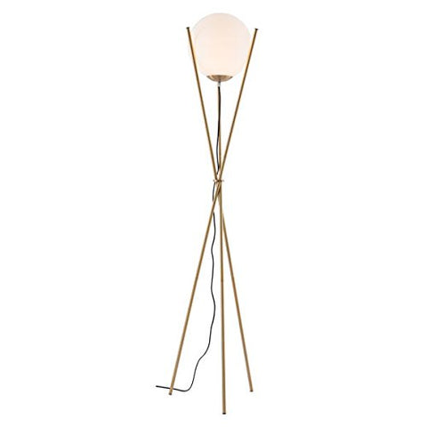 Zuo 56052 Antwerp Floor Lamp, White & Brushed Brass - llightsdaddy - Zuo - Lamp Shades