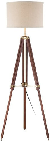 Possini Euro Cherry Finish Wood Surveyor Tripod Floor Lamp - llightsdaddy - Possini Euro Design - Lamps