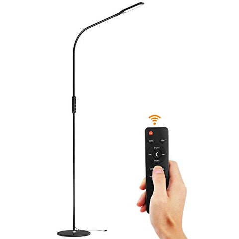 Lewondr LED Floor Lamp, Standing Lamp Reading Floor Light with Remote Control, Flexible Gooseneck, Stepless Brightness/Color Temperature, Memory Function for Bedroom, Living Room - Black - llightsdaddy - Lewondr - Lamp Shades