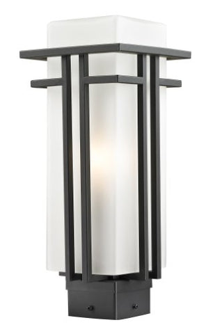 Z-Lite 550PHM-ORBZ Outdoor Post Light with Oil Rubbed Bronze Finish Steel Frame, Matte Opal