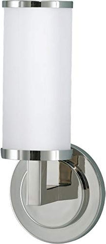 "Feiss WB1323PN Industrial Revolution Glass Wall Vanity Bath Sconce Lighting, Chrome, 1-Light (5""W x 12""H) 100watts"