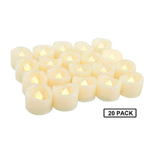 Battery Powered Flameless LED Tea Light Candles Fake Flickering Electric Unscented Tealights for Party Christmas Wedding Decorations Home D├ęcor Batteries Included, Wave Open, Cream White, 20 PCS - llightsdaddy - Jingtech - Flameless Candles