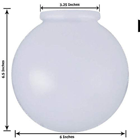 KOR K21815 6-Inch White Glass Globe Lamp Shade - 3-1/4-Inch Fitter Opening - Lighting Fixture Replacement - llightsdaddy - KOR - Fixture Replacement Globes & Shades