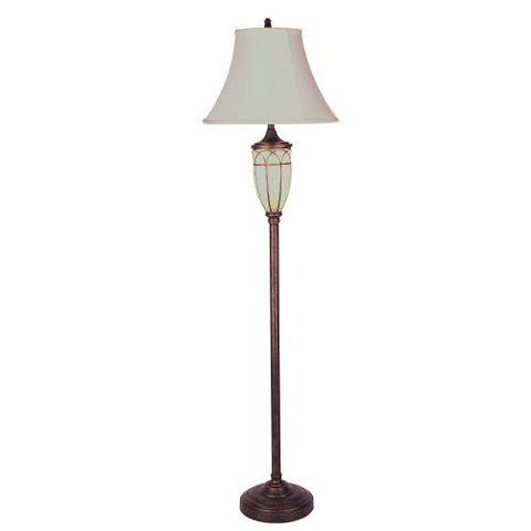 ORE International 8332FG 64-Inch Floor Lamp with Night Light, Antique Brass and Frosted Glass  ORE Lamps llightsdaddy.myshopify.com lightsdaddy