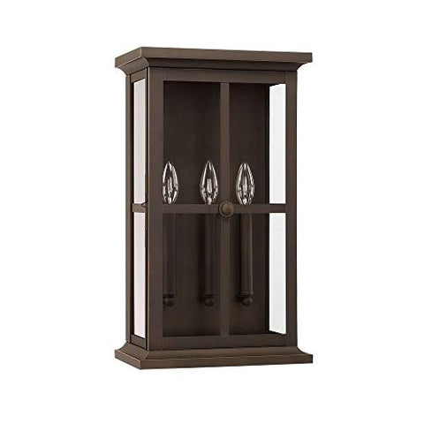 "Capital Lighting 926431OZ Mansell - 20"" Three Light Outdoor Wall Lantern, Oiled Bronze Finish with Clear Glass"