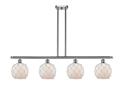Innovations 516-4I-SN-G121-8RW Farmhouse Rope 3 Island Light Part of The Ballston Collection, Brushed Satin Nickel