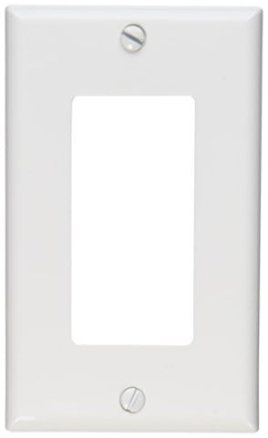 Leviton 122-80401-NW 1-Gang Decora/GFCI Device Wallplate, Standard Size, Thermoplastic Nylon, Device Mount, White - llightsdaddy - Leviton - Lightning Fixtures