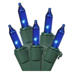Vickerman 50 Light Blue Light Set on Green Wire  Vickerman String Lights llightsdaddy.myshopify.com lightsdaddy