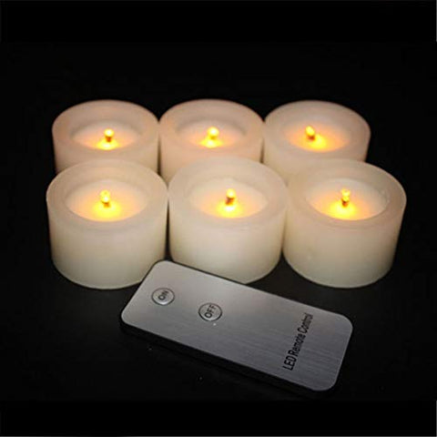 6 Pack Real Wax Tea Lights,Battery Operate Yellow Flickering Candles Optical Fiber Wick with Remote Control,Pillar Real Wax Flameless Candles for Wedding, Birthday, Christmas,Holiday Party - llightsdaddy - FASTIC - Flameless Candles